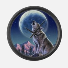 Howling Wolf 1 Large Wall Clock