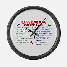 Chihuahua Property Laws 2 Large Wall Clock