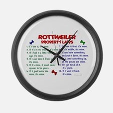 Rottweiler Property Laws 2 Large Wall Clock