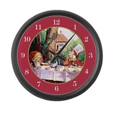 MAD HATTER CLOCK - RED Large Wall Clock