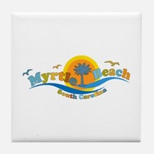 Myrtle Beach SC - Waves Design Tile Coaster