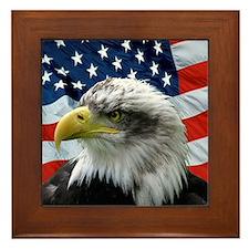 American Flag behind Bald Eagle Framed Tile