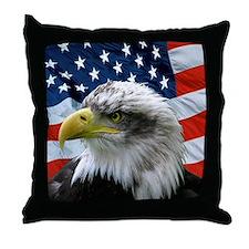 Patriotic American Flag Bald Eagle Throw Pillow
