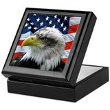 Bald eagle and flag Square Keepsake Boxes