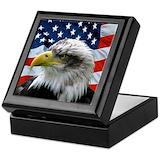 Bald eagle Square Keepsake Boxes