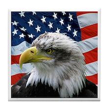 Bald Eagle American Flag Tile Coaster