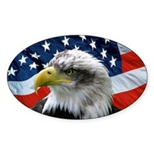 American Flag behind Bald Eagle Oval Stickers
