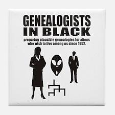Genealogists In Black Tile Coaster