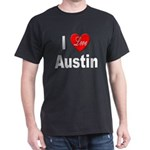 I Love Austin (Front) Black T-Shirt