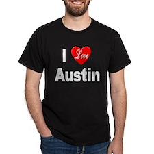 I Love Austin (Front) Black T-Shirt