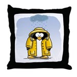 Rainy Day Penguin Throw Pillow