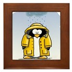 Rainy Day Penguin Framed Tile