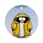 Rainy Day Penguin Ornament (Round)