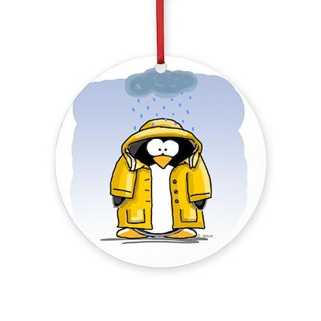 Rainy Day Penguin Ornament (Round)