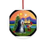 Christmas Fantasy Tibetan Terrier Ornament (Round)