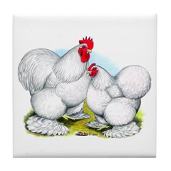 White Cochin Rooster and Hen Tile Coaster