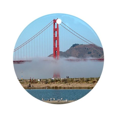 Golden Gate Bridge Fog - Gift Ornament Round