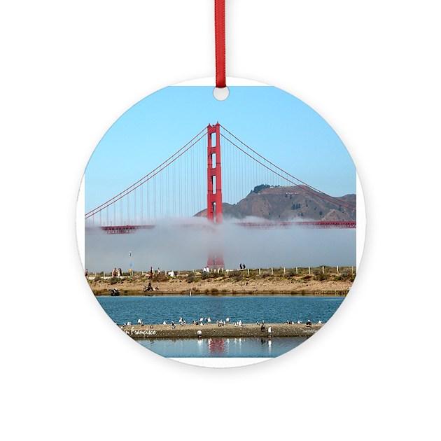 Golden gate bridge fog gift ornament round by rossross for Golden gate bridge jewelry