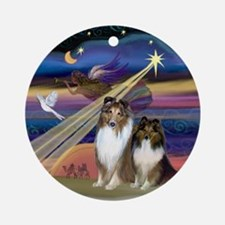 Christmas Star & Sheltie Pair Ornament (Round)