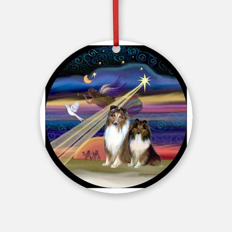 Christmas Star & Sheltie Pair Ornament (Round)