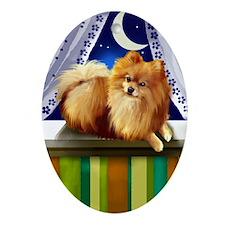 POMERANIAN DOG MOON Oval Ornament
