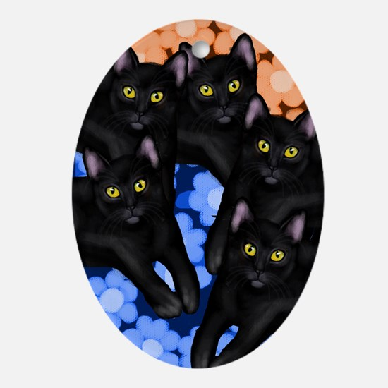 BLACK CATS Oval Ornament