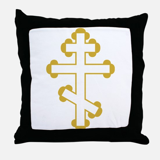Orthodox Bottony Cross Throw Pillow