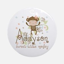 Addyson Sweet little Monkey Ornament (Round)