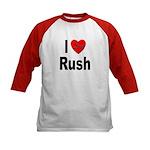 I Love Rush (Front) Kids Baseball Jersey