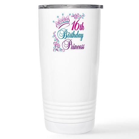 16th Birthday Princess Stainless Steel Travel Mug