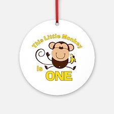 Little Monkey 1st Birthday Boy Ornament (Round)