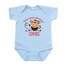 Little Monkey 1st Birthday Girl Infant Bodysuit
