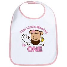 Little Monkey 1st Birthday Girl Bib