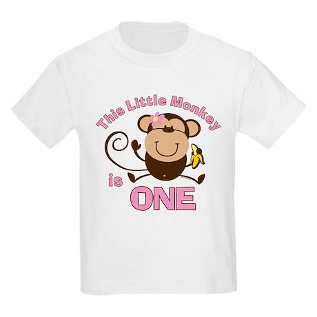 Little Monkey 1st Birthday Girl Kids Light T-Shirt