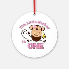 Little Monkey 1st Birthday Girl Ornament (Round)