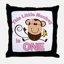 Little Monkey 1st Birthday Girl Throw Pillow