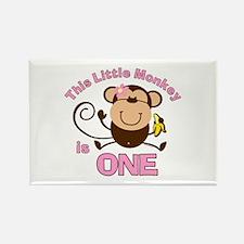 Little Monkey 1st Birthday Girl Rectangle Magnet