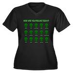 Alien Moods Women's Plus Size V-Neck Dark T-Shirt