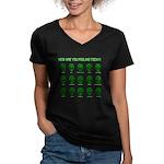 Alien Moods Women's V-Neck Dark T-Shirt