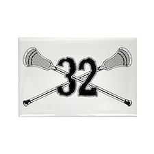 Lacrosse Number 32 Rectangle Magnet