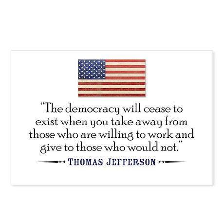 'Jefferson: Democracy will cease to exist Postcard