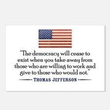 'Jefferson: Democracy will cease to exist Postcard