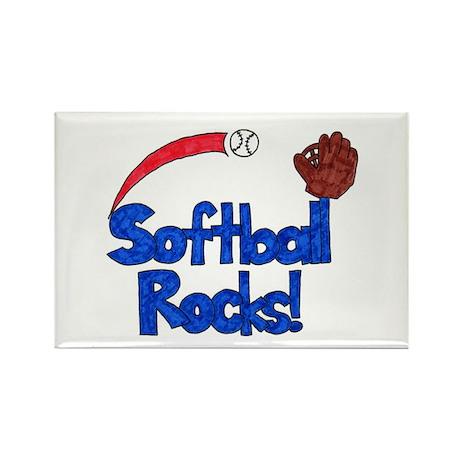 Softball Rocks Blue & Red Rectangle Magnet (10