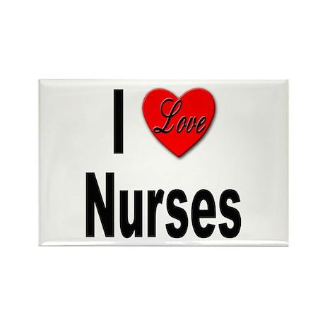 I Love Nurses Rectangle Magnet