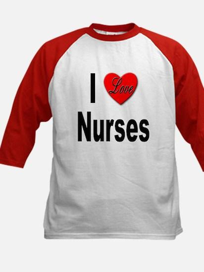 I Love Nurses (Front) Kids Baseball Jersey