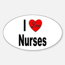 I Love Nurses Oval Decal