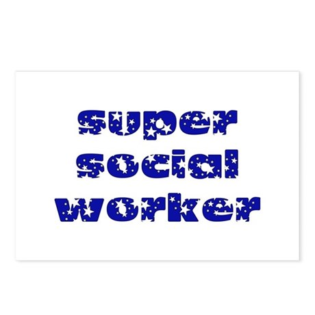 super social worker (Navy) Postcards (Package of 8
