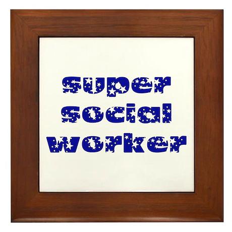 super social worker (Navy) Framed Tile