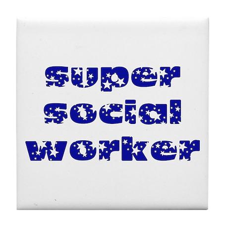 super social worker (Navy) Tile Coaster