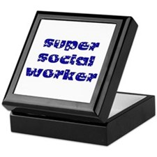 super social worker (Navy) Keepsake Box